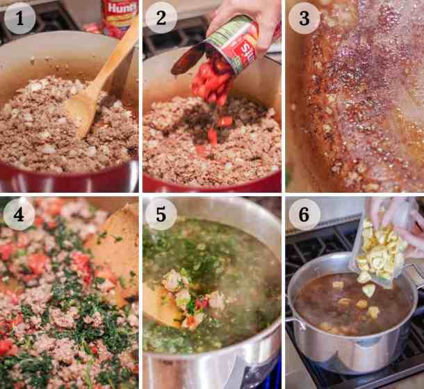 6 process shots of how to make easy tortellini soup