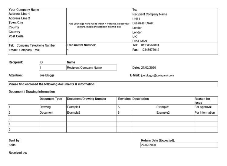 screenshot of transmittal sheet