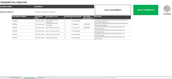 Excel Document Transmittal Register List