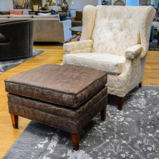 Club chair redone! Ottoman Larsen Fabric name 'Duncan' color 'leather.' Chair Fabricut 'Dreamy Fur' in Ivory. #clubchair #redo #reupholstery