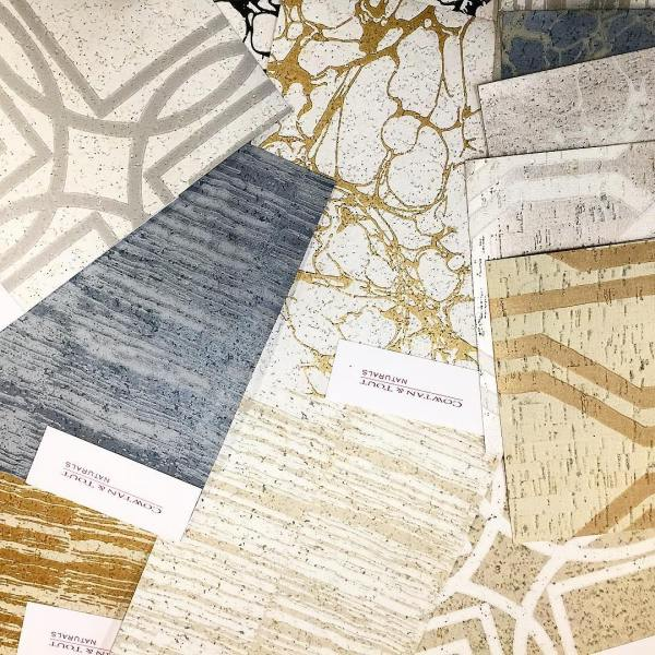 Get perfect #acoustics with #style in your #space with these new #mettalic #printed #cork wallpapers by @cowtanandtout! #ecodesign #sustainablehome #naturalmaterials    #naturalbeauty  #newcollection  #cork  #wallpaper  #wallcovering  #century  #zazen  #travertine  #bolero #interiordesign  #design #naturalcork #handmade #metallics #art #lastyle #cowtanandtout #naturals