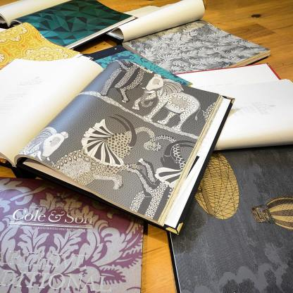 The new @cole_and_son_wallpapers books are in. Love these fun details! #elephants #wallpaper #decorationanddesign #interiordesign #funwallpaper #newsamples #samplelibrary #litchfieldcounty