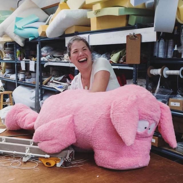 In the #workroom today, we are #re-stuffing this somewhat #embarrassed looking #pookie #pig for @sandra_boynton.  #workroomlife #atworktoday #salisburyct #lakevillect #neighbors #rehab #sandyboynton #littlepookie #hamlet #hogust #fun #stuffedanimal #silliness #haha #stuffedanimalhospital #hogwild