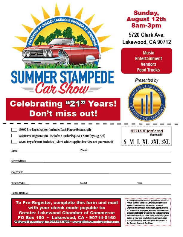 Car Show Lakewood Chamber - Car show sponsorship levels