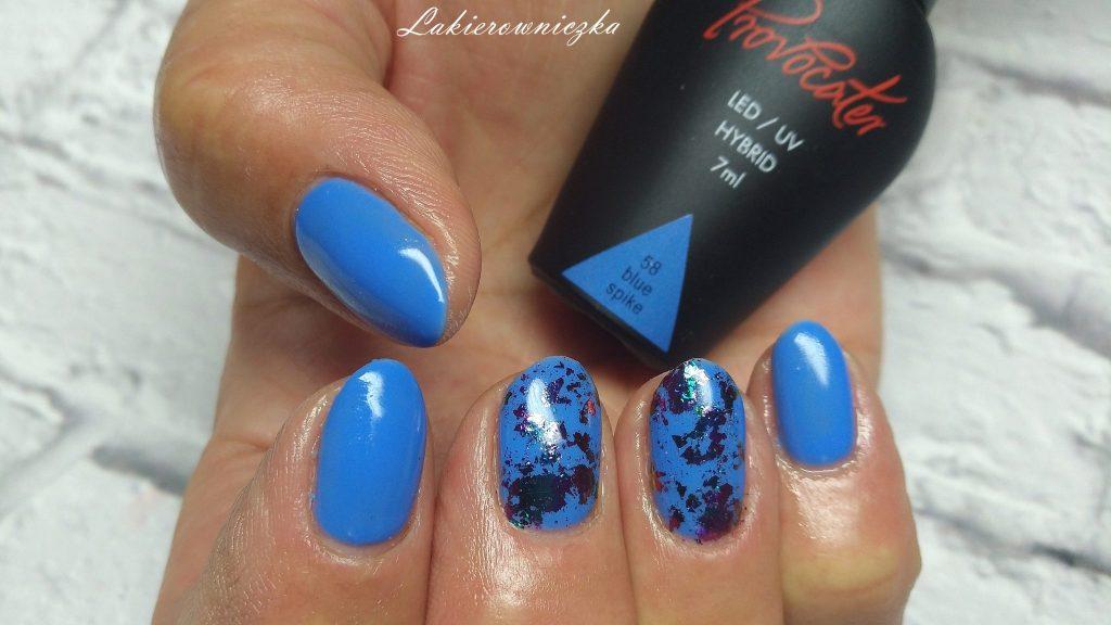 paznokcie-hybrydowe-Lakierowniczka-Provocater-058-niebieskie hybrydy-efekt-kameleona-nietypowy-pylek-efekte kameleona- nietypowy pyłek
