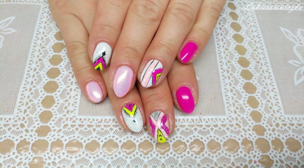 neonowy-roz-i-zolty-azteckie-wzory-Semilac-008-intensive-pink-victoria-vynn-009-subtlish-pink-biel-neonowy-zolty-Lakierowniczka-neonowy róż i żółty