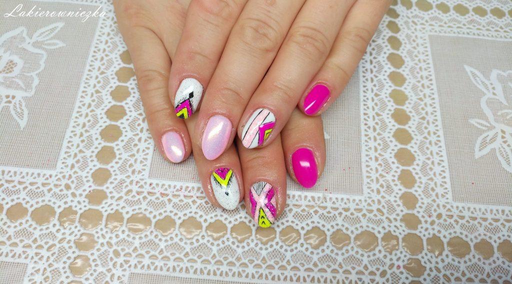 neonowy-roz-i-zolty-azteckie-wzory-Semilac-008-intensive-pink-victoria-vynn-009-subtlish-pink-biel-neonowy-zolty-Lakierowniczka