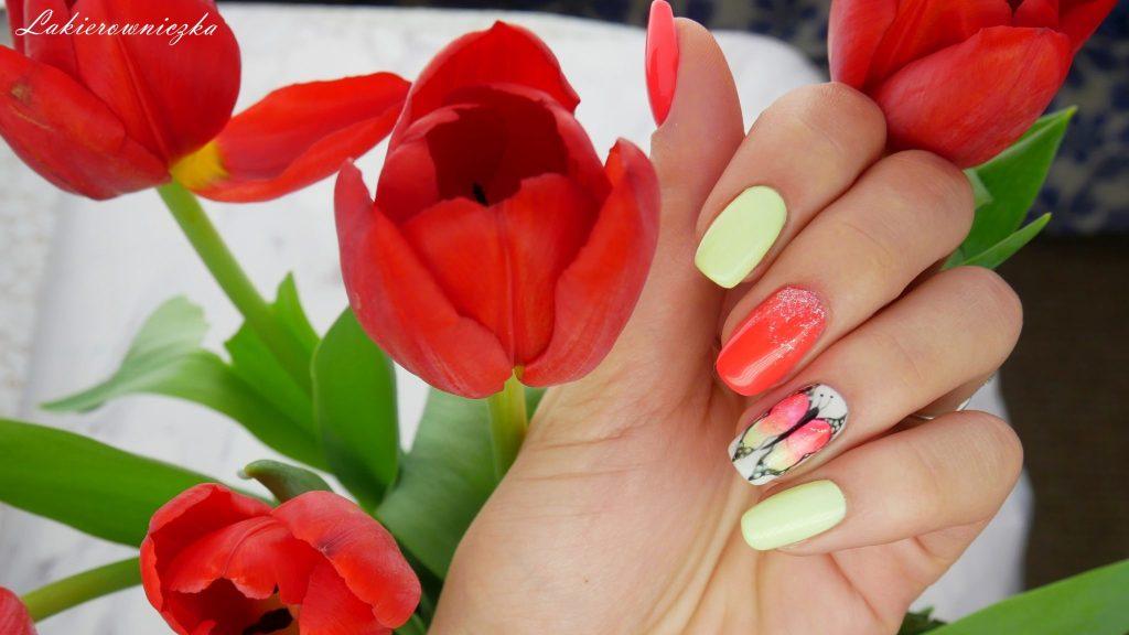 recznie-malowane-motyle-lakiery-hybrydowe-hybrydy-Charbonne-Lakierowniczka-71-neonowy-cukierkowy-102-wiosenna-limonka-ręcznie malowane motyle