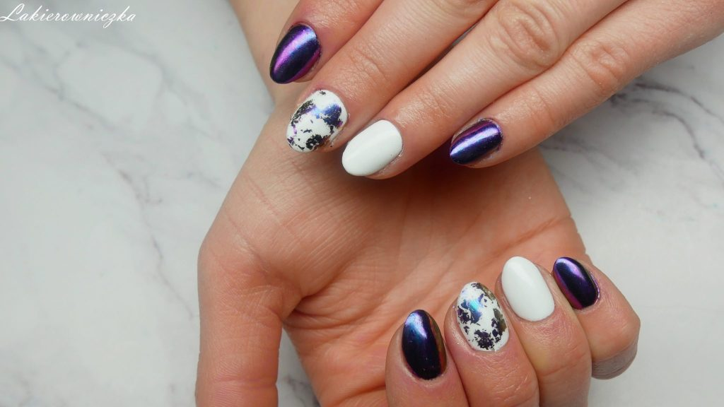paznokcie-do-niebieskiej-sukienki-Rosegal-Lakierowniczka-white-blue-nails-hybrydy-paznokcie-hybrydowe-hybryda-hybrid-flejk-efekt-pylek