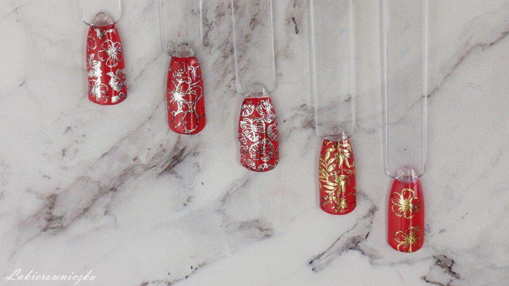 idealna-czerwona-hybryda-Charbonne-stemplowanie-fiolia-transferowa-Moyra-Lakierownicza-plytka-B-loves-plates-czerwone-paznokcie
