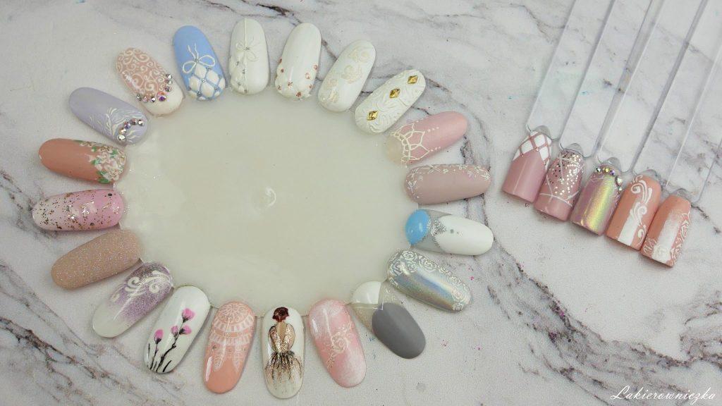 slubne-paznokcie-hybrydowe-2018-hybrydy-na-slub-wesele-zdobienia-wzorki-kolory-hybrydy-nude-bezowe-pudrowy-roz-cyrkonie-na-slub-NCLA-On-sundays-we-brunch-Lakierowniczka-ślubne paznokcie hybrydowe