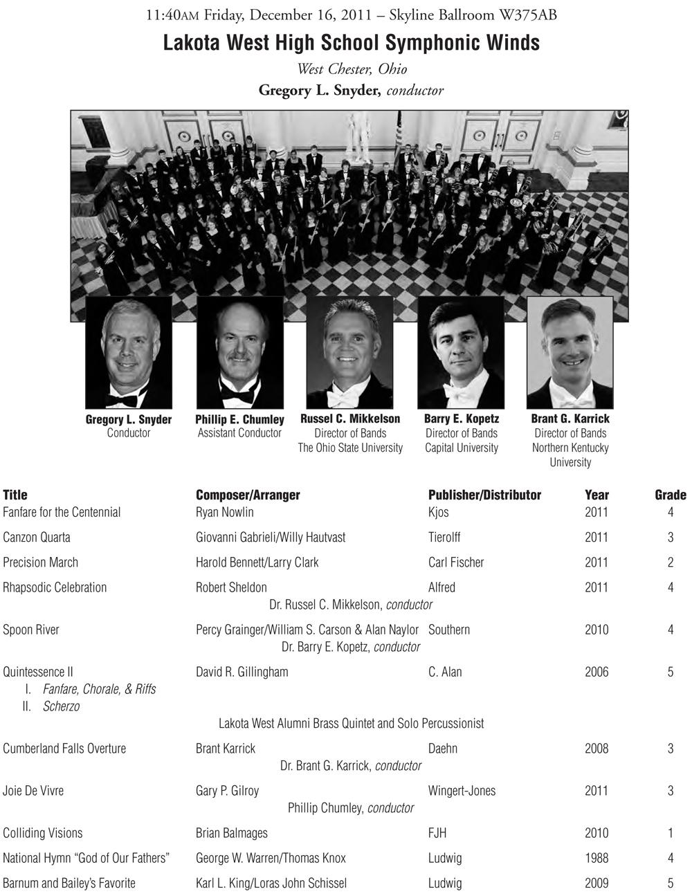 2011 Midwest Clinic – Symphonic Winds