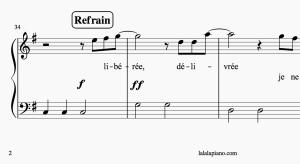 Jeu de Solfège sur Partition pour PIANO : La Reine des Neiges «libérée, délivrée»