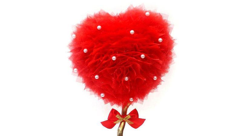топиарий сердце из органзы