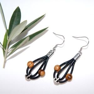 Boucles d'oreilles cuir et Ancre – Argent plaqué