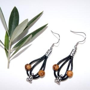 Boucles d'oreilles cuir et Bouddha – Argent plaqué