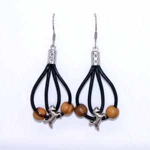 Boucles d'oreilles cuir et Cheval – Argent plaqué