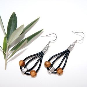 Boucles d'oreilles cuir et Curseur – Argent plaqué