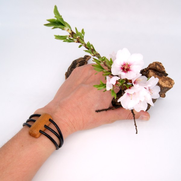 Enfant Femme Olivier Amandier Cerisier Bijou Bracelet Bois Cuir Réglable Ajustable Acier Inoxydable