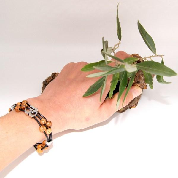 Enfant Femme Homme Mixte Olivier Perle Bijou Bracelet Bois Réglable Ajustable cuir Argent Plaqué Acier Inoxydable