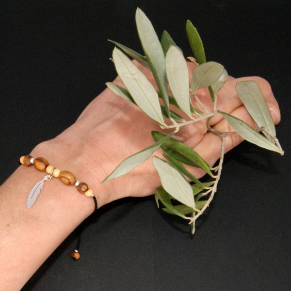 Enfant Femme Olivier Perle Bijou Bracelet Bois Soie Réglable Ajustable Argent 925