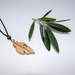Collier Plume de moineau – Olivier – Mixte