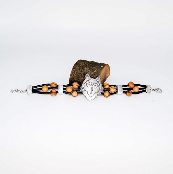 """Bracelet Cuir """"Loup"""" Argent plaqué - Mixte"""