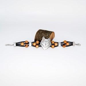Bracelet Cuir «Loup» Argent plaqué – Mixte