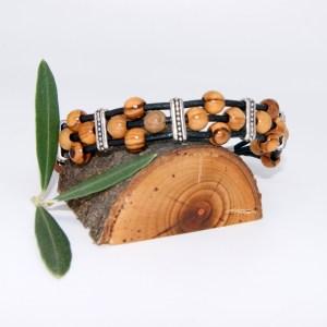 Bracelet Cuir «Spirit» Argent plaqué – Mixte