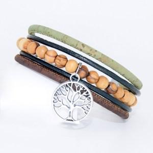 Bracelet manchette Liège cuir, Arbre de vie – Mixte