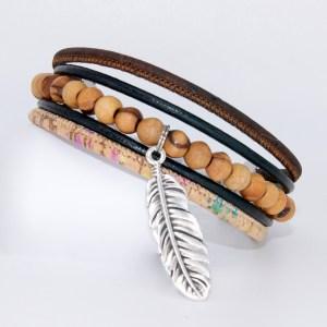 Bracelet manchette Liège cuir, Sauvage – Mixte