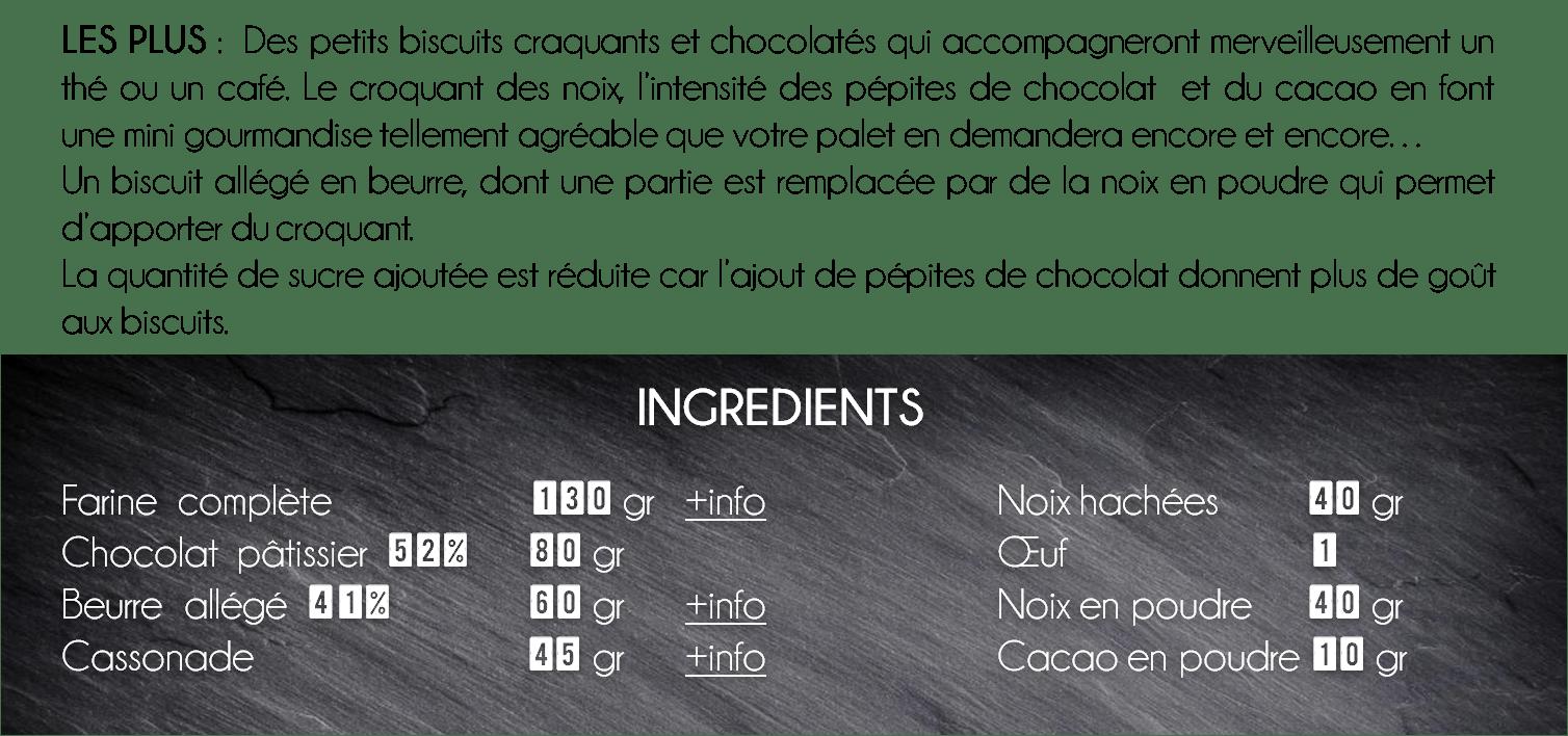 ingredients biscuits chocolat noix