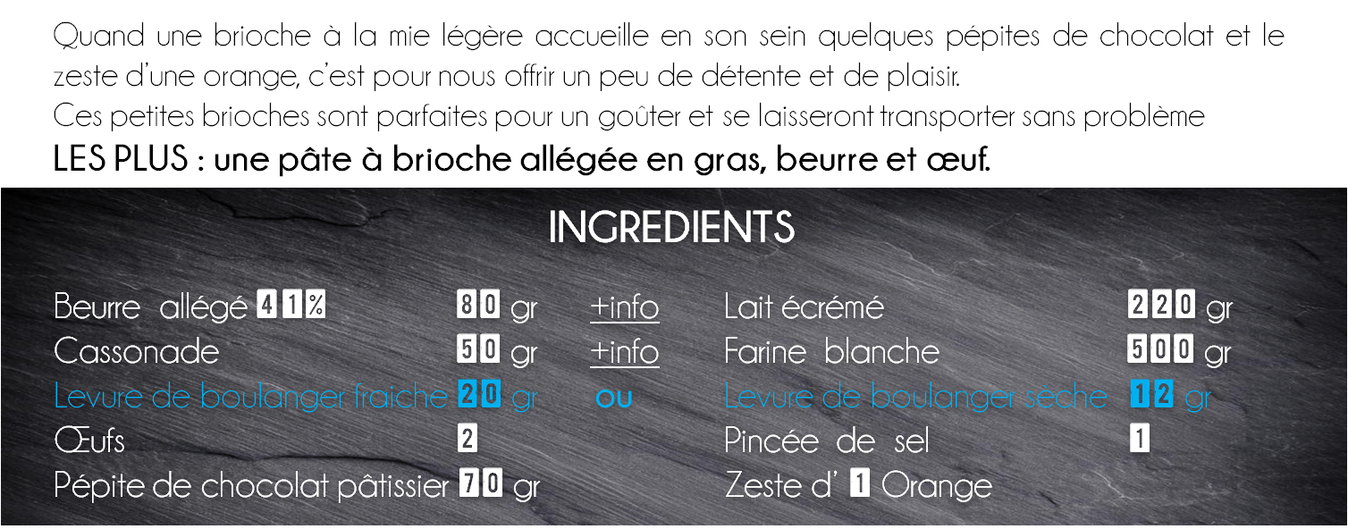 ingredients briochette orange chocolat