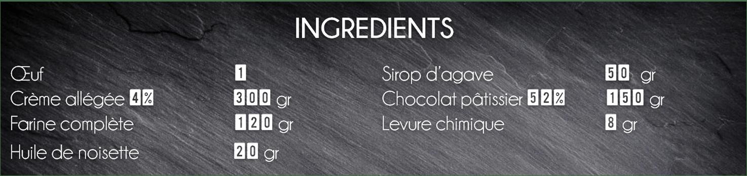 ingrédients muffin chocolat