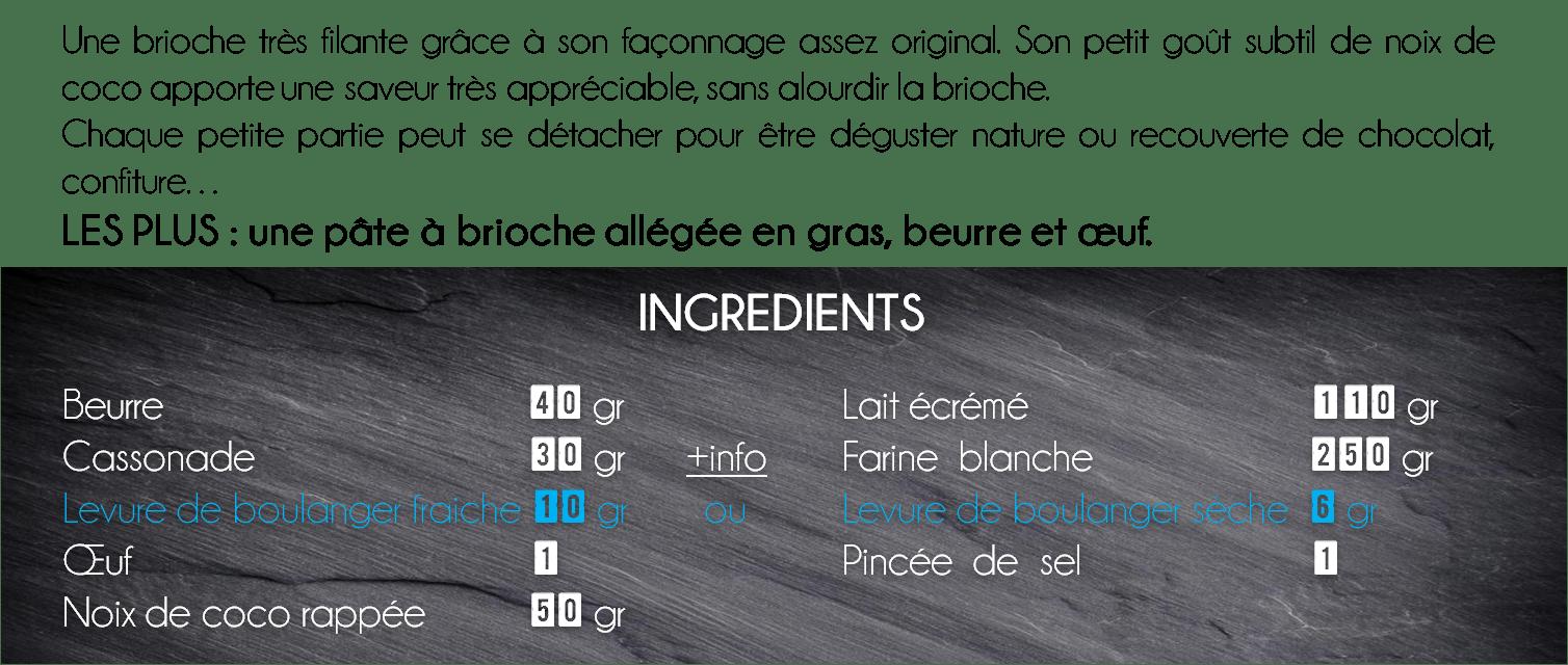 ingredients brioche coco