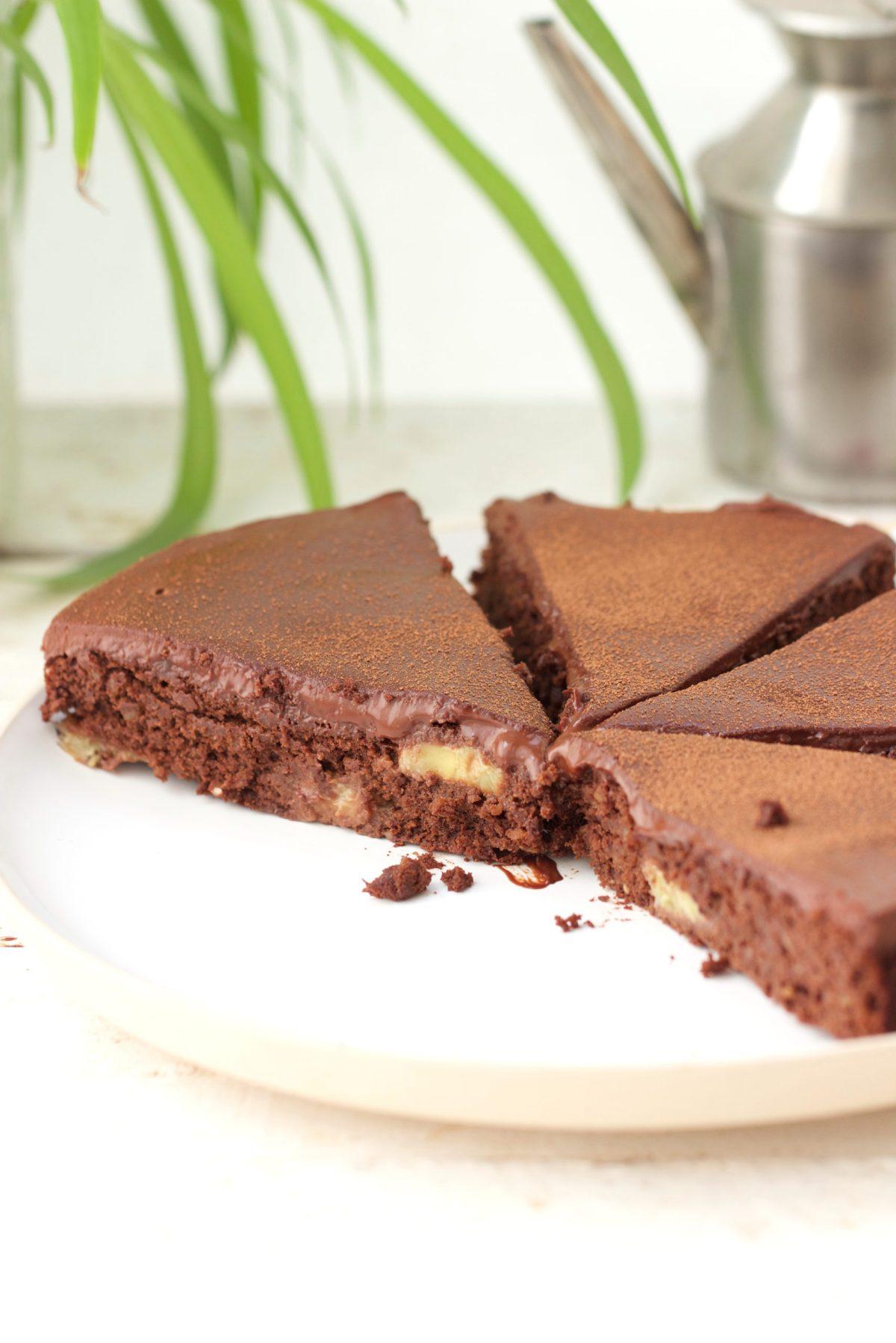 Moelleux chocolat banane, vegan, sans gluten, sans sucre
