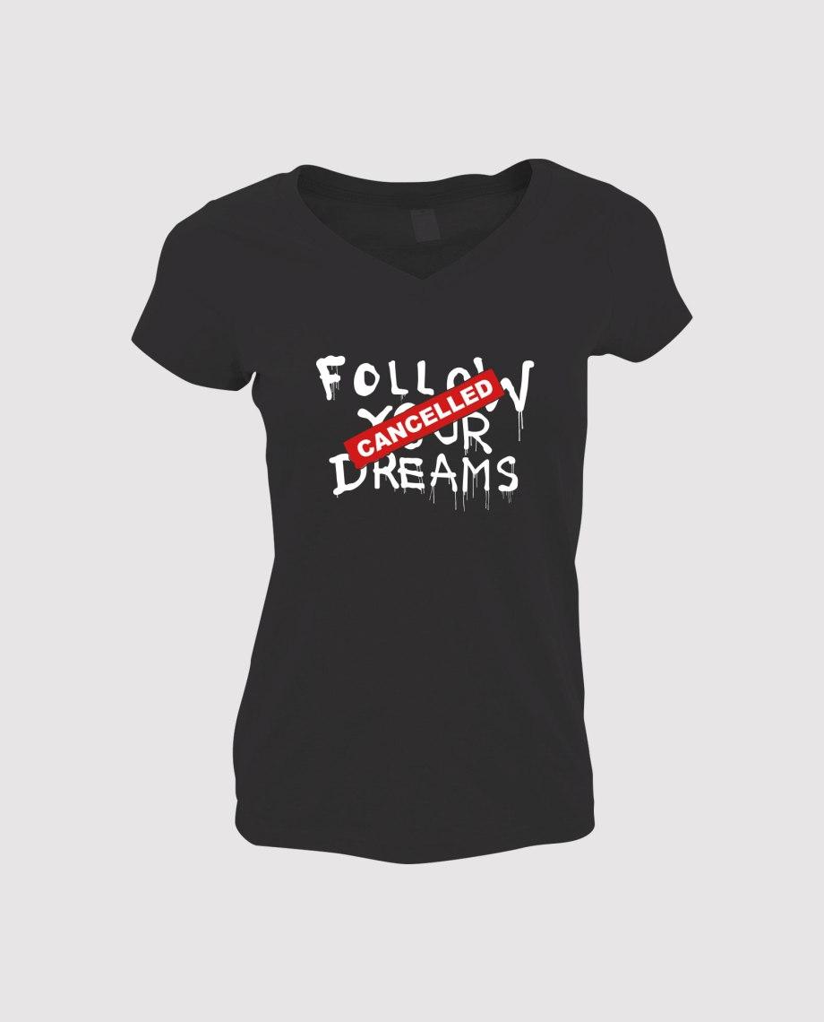la-ligne-shop-t-shirt-noir-femme-banksy-follow-your-dream-cancelled