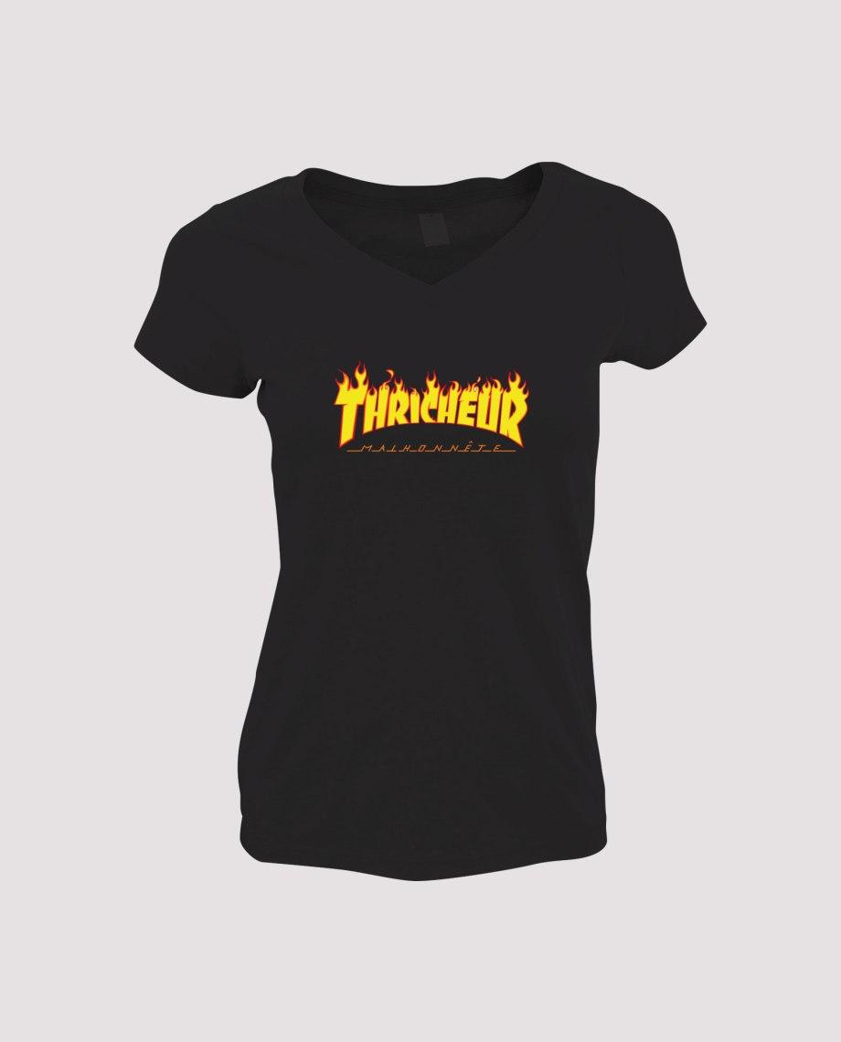 la-ligne-shop-t-shirt-noir-femme-detournement-de-logo-thrasher-magasine-thricheur-malhonnete-avec-flamme