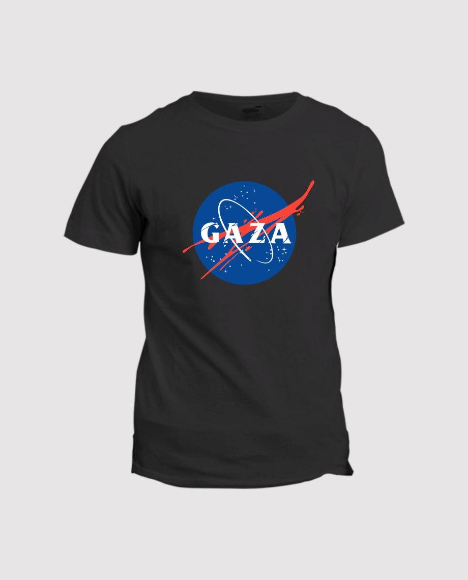 la-ligne-shop-t-shirt-noir-homme-soutien-a-gaza-detournement-logo-nasa