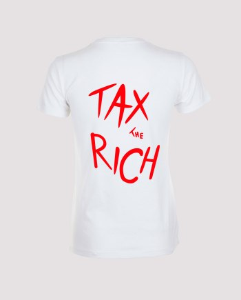Dos T-shirt blanc femme tax the rich
