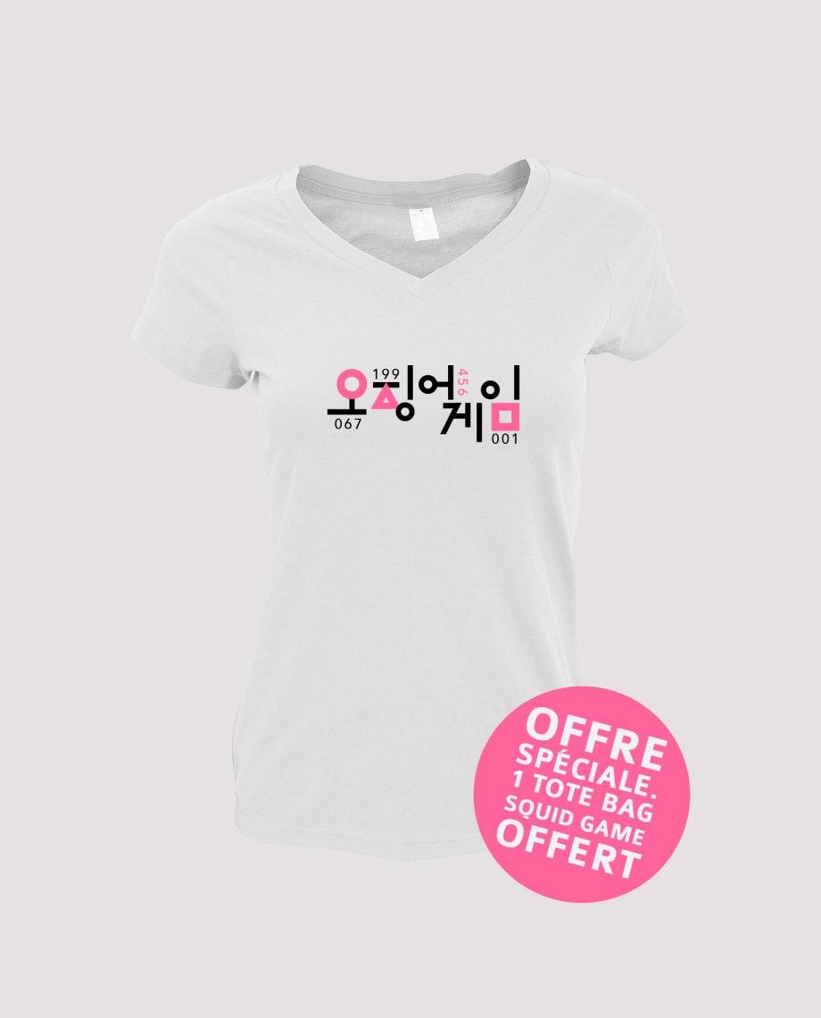 la-ligne-shop-t-shirt-blanc-femme-squid-game-serie-netflix-numero-001-067-199-456-offre-speciale