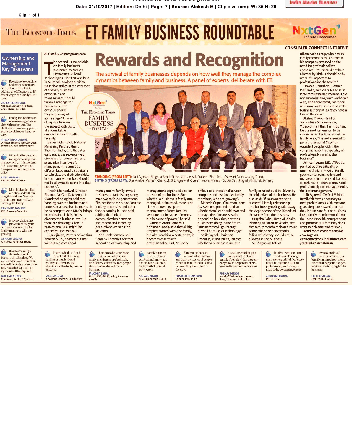 Glad to attend Economic Times Family Business Round table NxtGen Family Business Forum. Thanks for the rewards and recognition