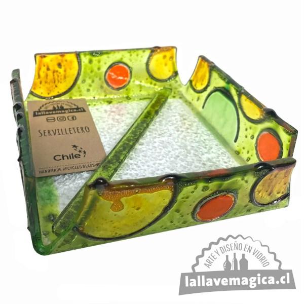 servilletero verde de vidrio