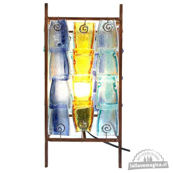 Lámpara de 48 botellas de vidrio lallavemagica.cl