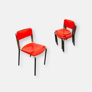 Set de 4 chaises en métal chromé et plastique