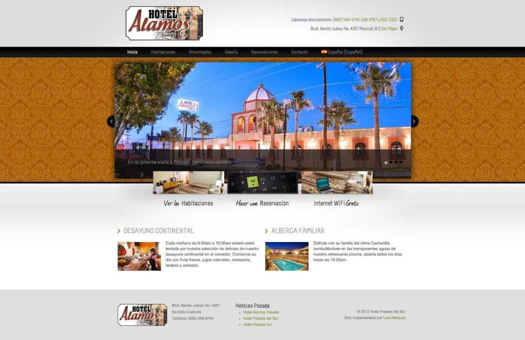 Desarrollo Web del Hotel Alamos Posada por Lalo Marquez