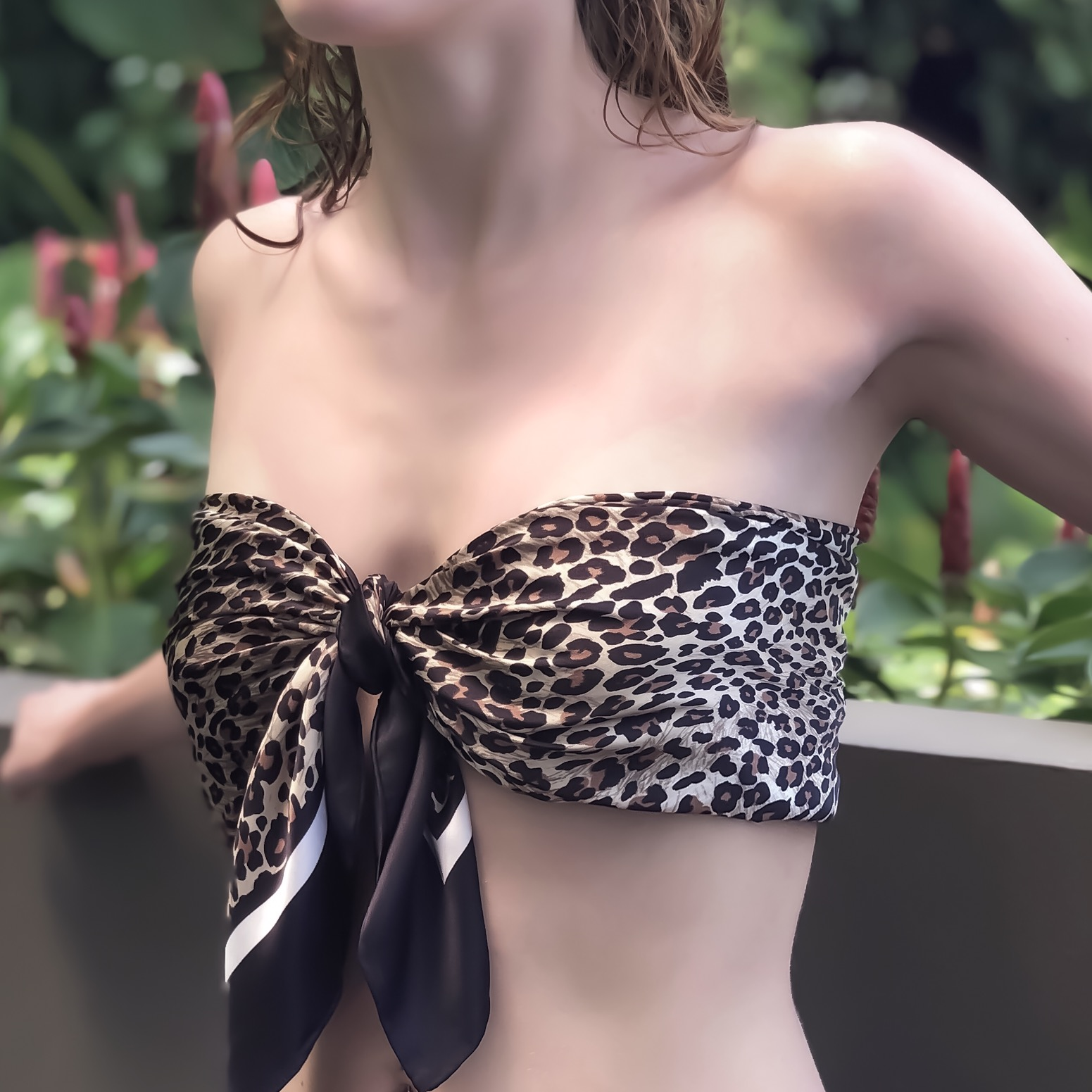 Lalouette Leopard Print Square Silk Scarf as Bandeau Top