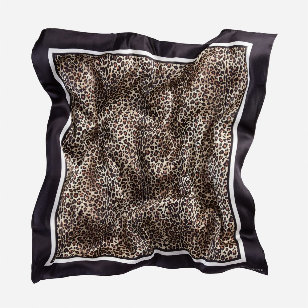 Lalouette leopard silk scarf in air