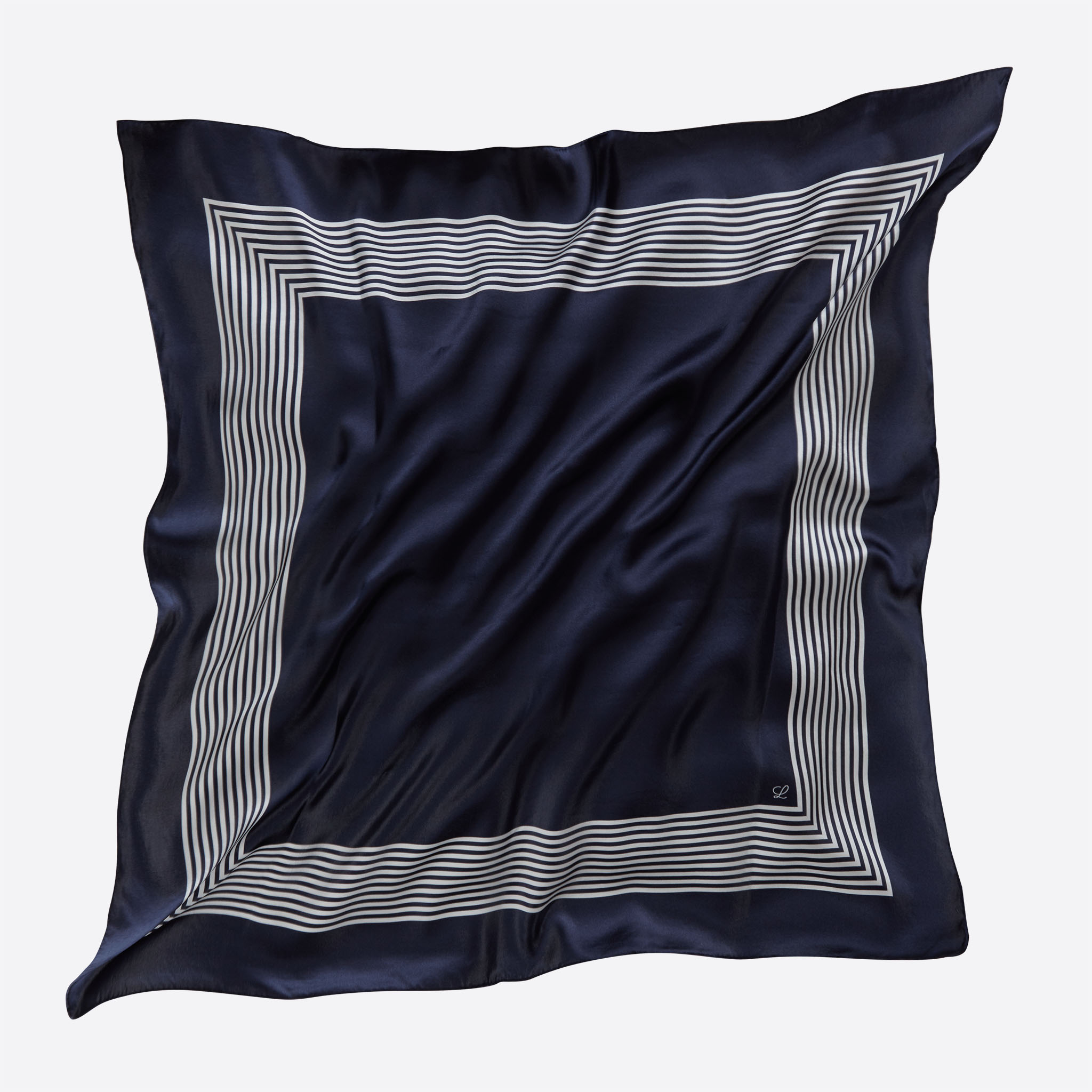 Lalouette navy striped square silk scarf flying