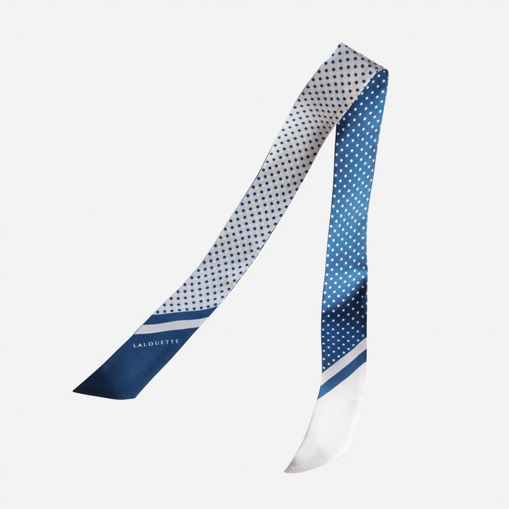 Lalouette navy polka dot skinny silk scarf in air